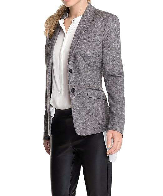 ESPRIT Collection Damen Blazer aus Tweed, Einfarbig, Gr. 34, Grau (GRAPHITE GREY MELANGE 059)