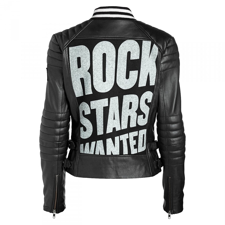 Rockstars & Angels College Women Lederjacke schwarz