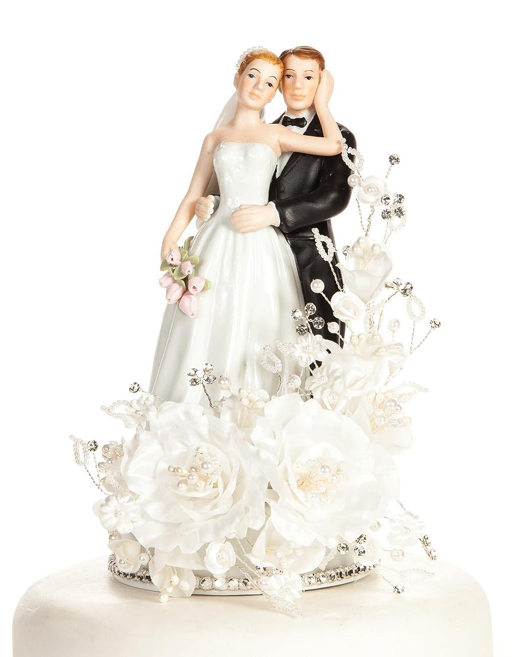 Vintage Elegant Rose Wedding Cake Topper 0