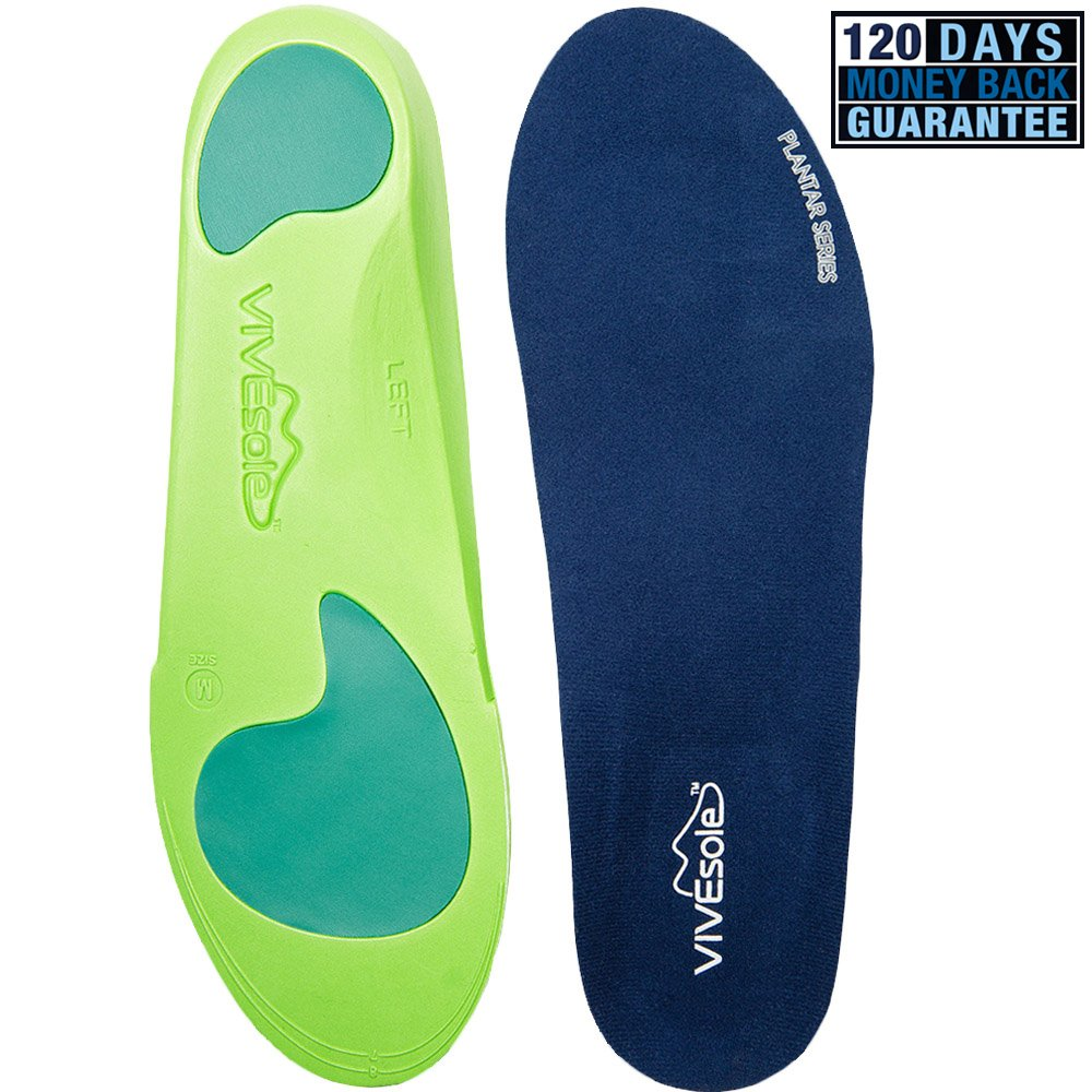 Full Length Orthotics by VIVEsole - Plantar Series - Insoles with Arch Support, Heel and Forefoot Cushions for Plantar Fasciitis - 120 Day Guarantee o leg orthotic arch support shoe pad insoles arch support damping massage correct flat foot protect arch feet care pads xd 041