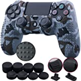9CDeer 1 Piece of Silicone Studded Water Transfer Protective Sleeve Case Cover Skin + 8 Thumb Grips Analog Caps + 2 dust proof plugs for PS4/Slim/Pro Dualshock 4 Controller, Grey Camouflage (Color: Grey Camouflage, Tamaño: printing)