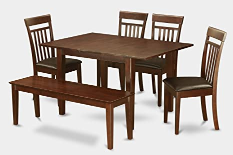 East West Furniture MLCA6C-MAH-LC 6-Piece Dinette Table Set
