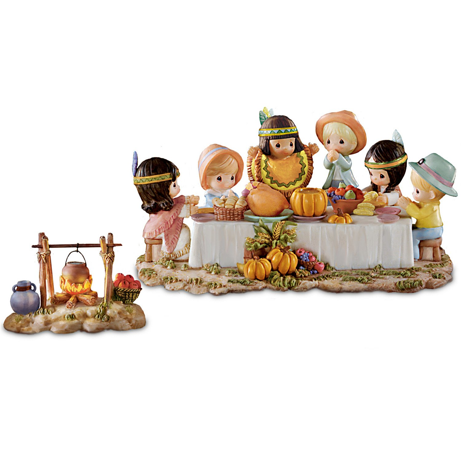 Thanksgiving pilgrim indian children figurines