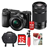 Sony Alpha a6000 Mirrorless Camera ( 16-50mm & 55-210mm) Power Lenses (ILCE6000Y/B) + 1 Year Extended Warranty with 32GB Deluxe Bundle