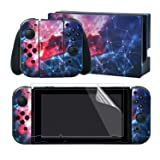 eXtremeRate The Galaxy Space Print Stickers Full Set Faceplate Skins +2Pcs Screen Protector for Nintendo Switch/NS Console & Joy-con Controller & Dock Protection Kit (Color: Galaxy Space)
