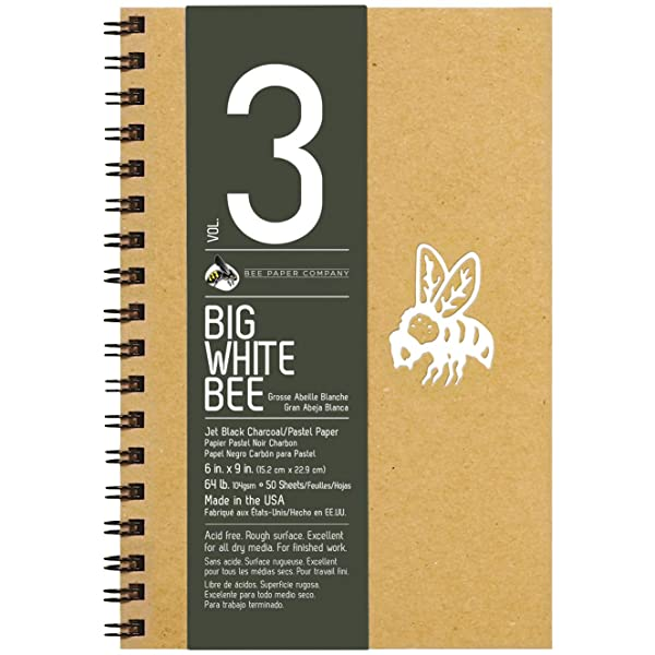 Bee Paper Company BEE-204CB50-609 Big White Bee Drawing Pad, 9 by 6-Inch, Black Charcoal (Color: Black, Tamaño: 6-inch x 9-inch, 50 Sheet Sketchbook)