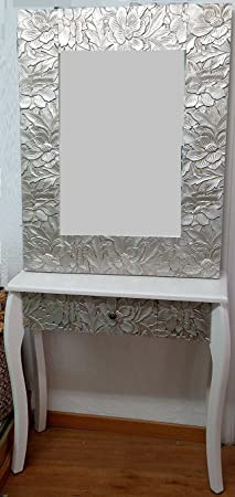 DonRegaloWeb - Recibidor - Consola de madera con espejo en color blanco con flores en relieve en color plateado