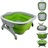Large Foot Soaking Tub, bucket for feet, foot bath, foot tub, for at Home Spa Pedicures. Plastic/Rubber Foldable Bucket For Soaking Feet to Apply Callus Remover, or Use Pumice Stone and Foot Rasp. (Color: Green)