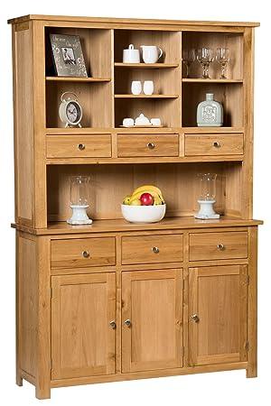 Waverly Oak Large Dresser Display Cabinet in Light Oak Finish | Wide Storage Cupboard | Solid Wooden Unit