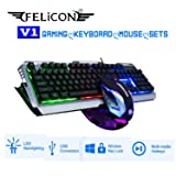 FELICON V1 Gaming Keyboard Mouse Sets Wired Rainbow LED Backlit Ergonomic Metal Waterproof + 3200DPI 7 Colors Breathe Light Optical Gamer Mouse Sets + Gaming Mousepad (Black Silver/Rainbow Light) … (Color: V1 Black Silver Rainbow light)
