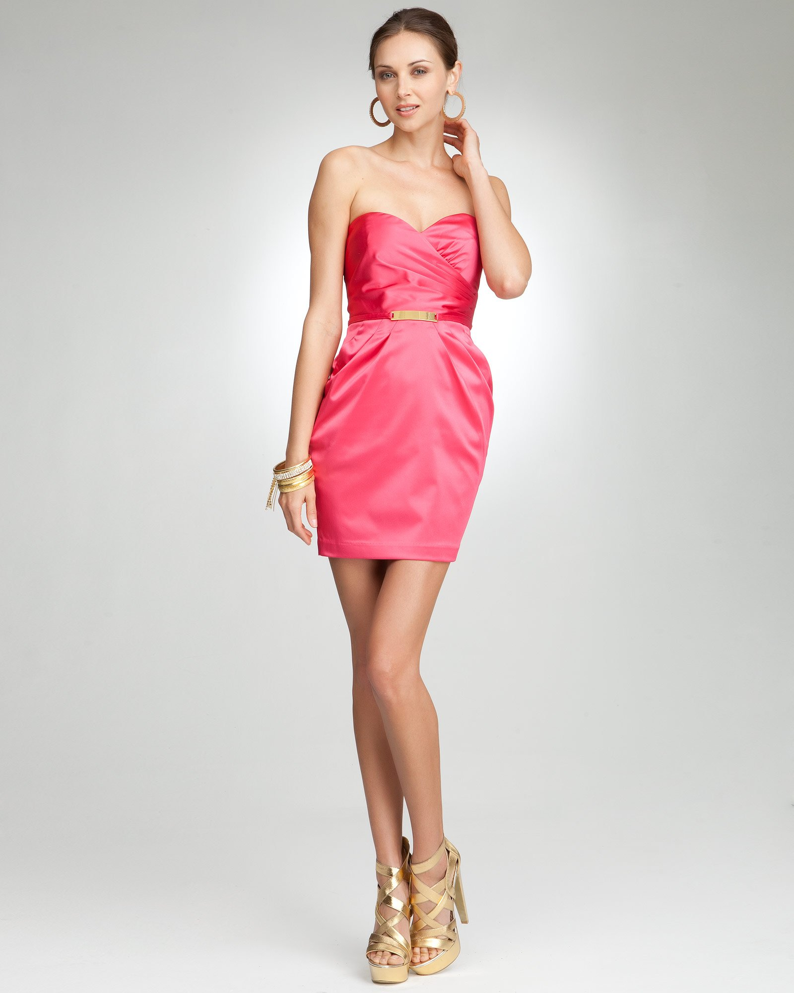 bebe Shane Strapless Gold Belted Tulip Dress
