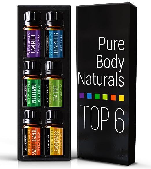 Aromatherapy Top 6 Essential Oils 100% Pure & Therapeutic grade - with Lavender, Tea Tree, Eucalyptus, Sweet Orange, Lemongrass & Peppermint - Basic Sampler Gift Set & Premium Kit - 6/10 Ml