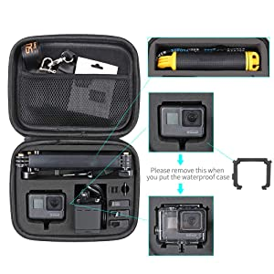 Perfect for Travel and Storage //6//5 Black,Session 5//4,Hero 3+,AKASO Action Camera and More Medium Carrying Case Protective Storage Bag with Surface-Waterproof Compatible with GoPro Hero 7// 2018