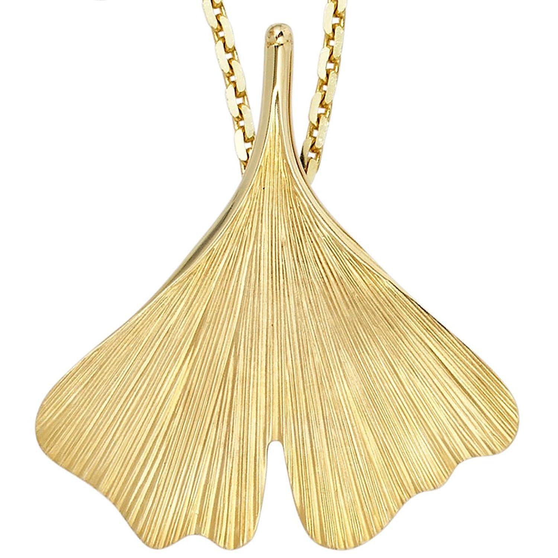 Damen Gold Anhänger Ginko 375 Gold Gelbgold als Geschenk