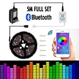 Led strip lights 16.4ft/5mNon-Waterproof LED Lights Kit5050 RGB Rope Lights With Bluetooth Smartphone APP Controller & 12V 3A Power Supply for ios and Android System (Color: Multi-colored, Tamaño: APP Controlled)