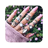Nager Women Ring Set Turtle Opal Stone Stackable Crown Knuckle Ring Set for Girls (Color: JZ-02)