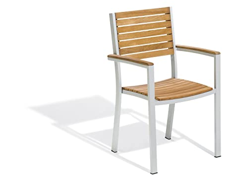Oxford Garden Travira Aluminum and Teak Armchair, 2-Pack