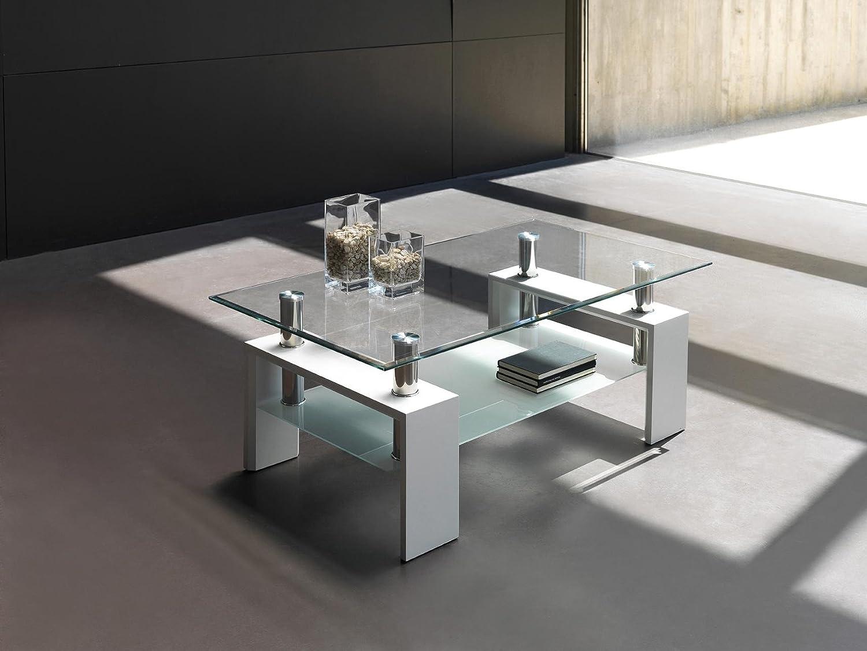 Mesa para centro de comedor de acero y cristal