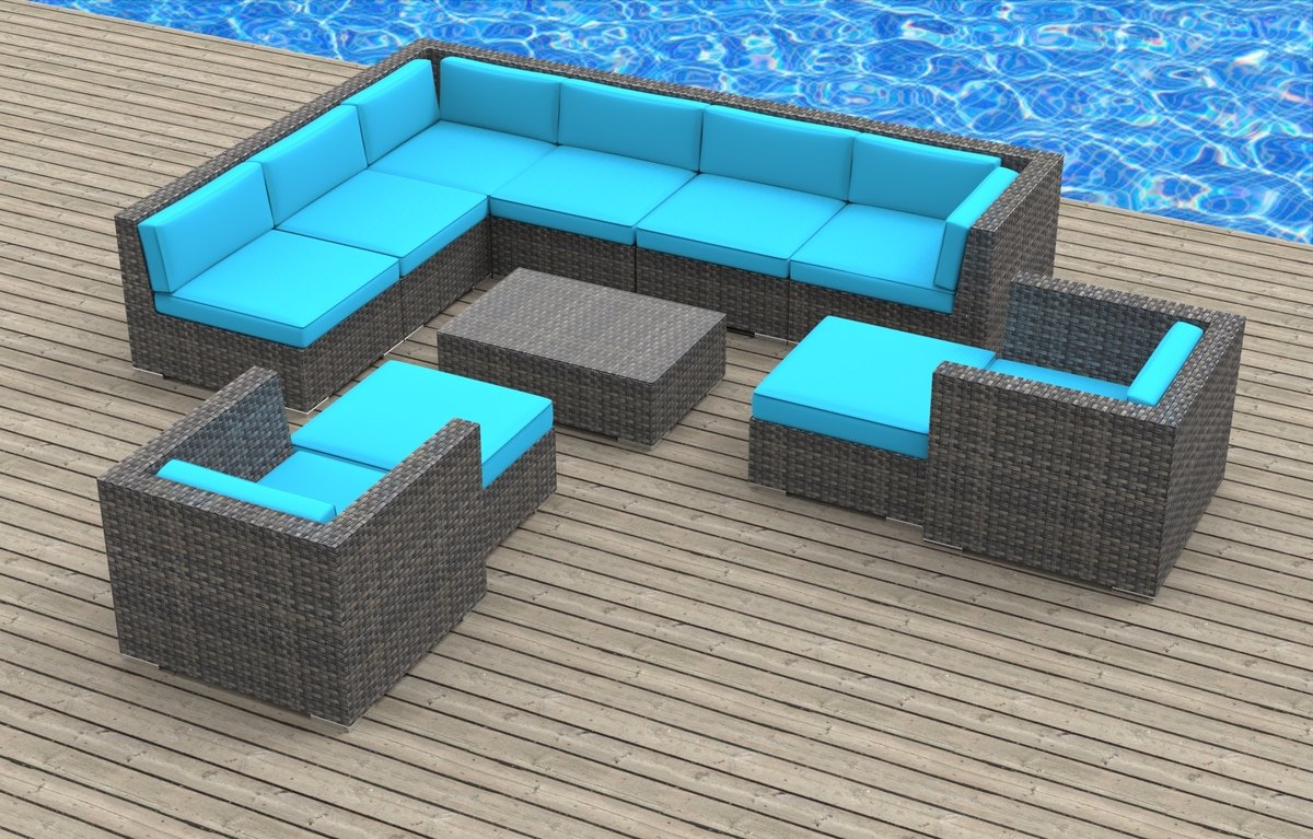 www.urbanfurnishing.net Urban Furnishing - ARUBA 11pc Modern Outdoor Backyard Wicker Rattan Patio Furniture Sofa Sectional Couch Set - Sea Blue at Sears.com