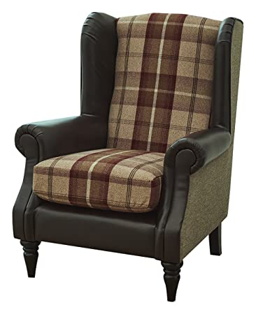 Cognac Wing Chair, Fabric - Faux Leather Chocolate/Cognac Check