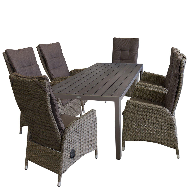 gartensessel mit stufenlos verstellbarer lehne sitzkissen mit abnehmbarem waschbarem bezug. Black Bedroom Furniture Sets. Home Design Ideas