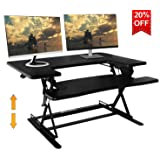 Standing Desk Preassembled Height Adjustable Sit Stand up Desk Riser Stand Fit Two Monitors Adjustable Standing Desk Converter Topper Black 36'' x 25'' by SITA Office (Black) (Color: Black, Tamaño: 36x25)