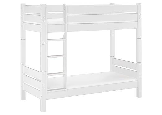 Solido letto a castello bianco in pino Ecologico,adatto anche PER ADULTI 100x200 divisibile,Nicchia da ca. 100cm. Assi di legno e materassi inclusi 60.16-10 W T100 M