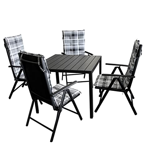 9tlg. Sitzgarnitur Aluminiumtisch mit Polywood Tischplatte in schwarz 90x90cm + 4x Hochlehner, Textilenbespannung, Lehne 7-fach verstellbar + 4x Stuhlauflage / Terrassenmöbel Gartenmöbel Set Garnitur