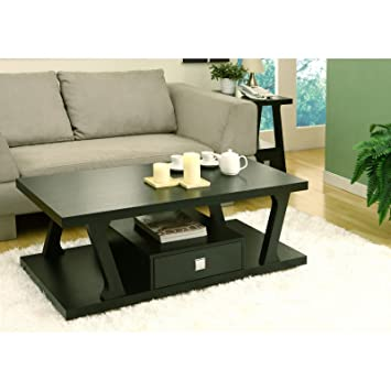 Coffee Table with Storage Drawer with Black Finish
