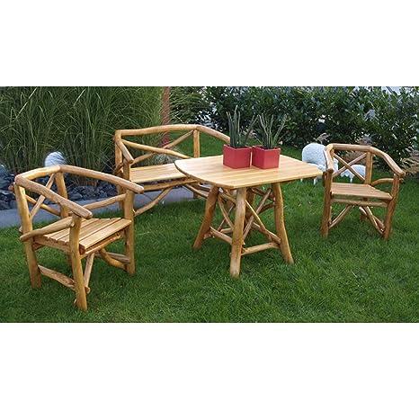 Gartengarnitur ROSSBACHTAL 4 tlg, Eichen-Rundholz (Knuppelholz), 2x Sessel 1x Bank 2 Sitzer 1x Tisch
