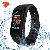 greatall Fitness Tracker/Smart Bracelet with Color Screen,Smart Wristband with Heart Rate Monitor Wireless Waterproof IP67 Bracelet HR Wrist Strap Track Step Sleep IOS and Android Smartphone (Black)