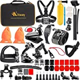 Kitway 65-in-1 Action Camera Accessories Kit for Akaso EK7000/DJI Osmo Pocket/Wewdigi EV5000/GoPro Hero 6 Hero 5 Black Session 7 6 5 4 3+ 3 2 1/DBpower N6/Crosstour (Accessories for Action camare) (Color: black)