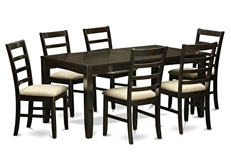 East West Furniture LYPF7-CAP-C 7-Piece Dining Table Set, Cappuccino Finish