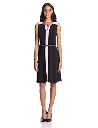 Jones New York Women's Print Color Block Belted Dress, Black Combo, X-Small