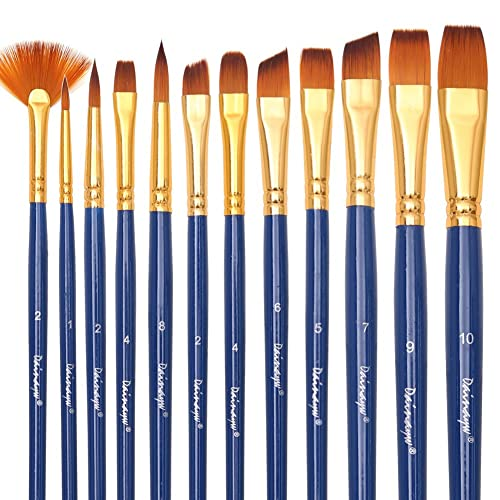Dainayw Art Paint Brush Set - 12 Nylon Hair Brushes for Art Painting, Face Painting - Acrylic Paint, Watercolor, Oil, Easy-to-Use Face Art Supplies Paint Palette via Amazon