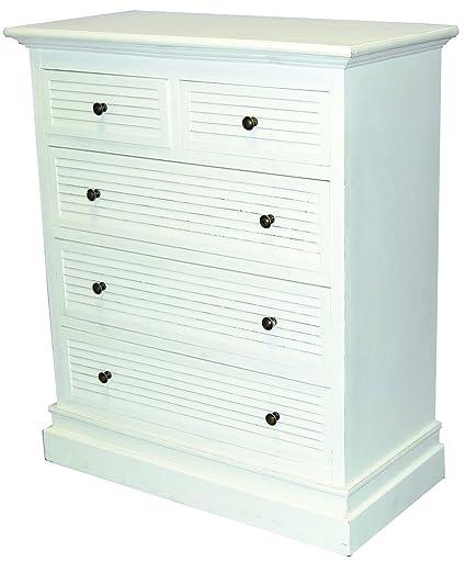 Cómoda con cinco cajones y armario de estilo rústico Colour blanco shabby chic de registro, New