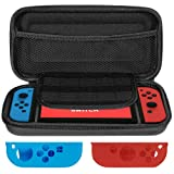 Lictin Travel Carrying Case Pouch for Nintendo Switch Protective Hard Shell Pouch Portable with 1 Pair Controller Silicone Case(Black) (Color: Black)