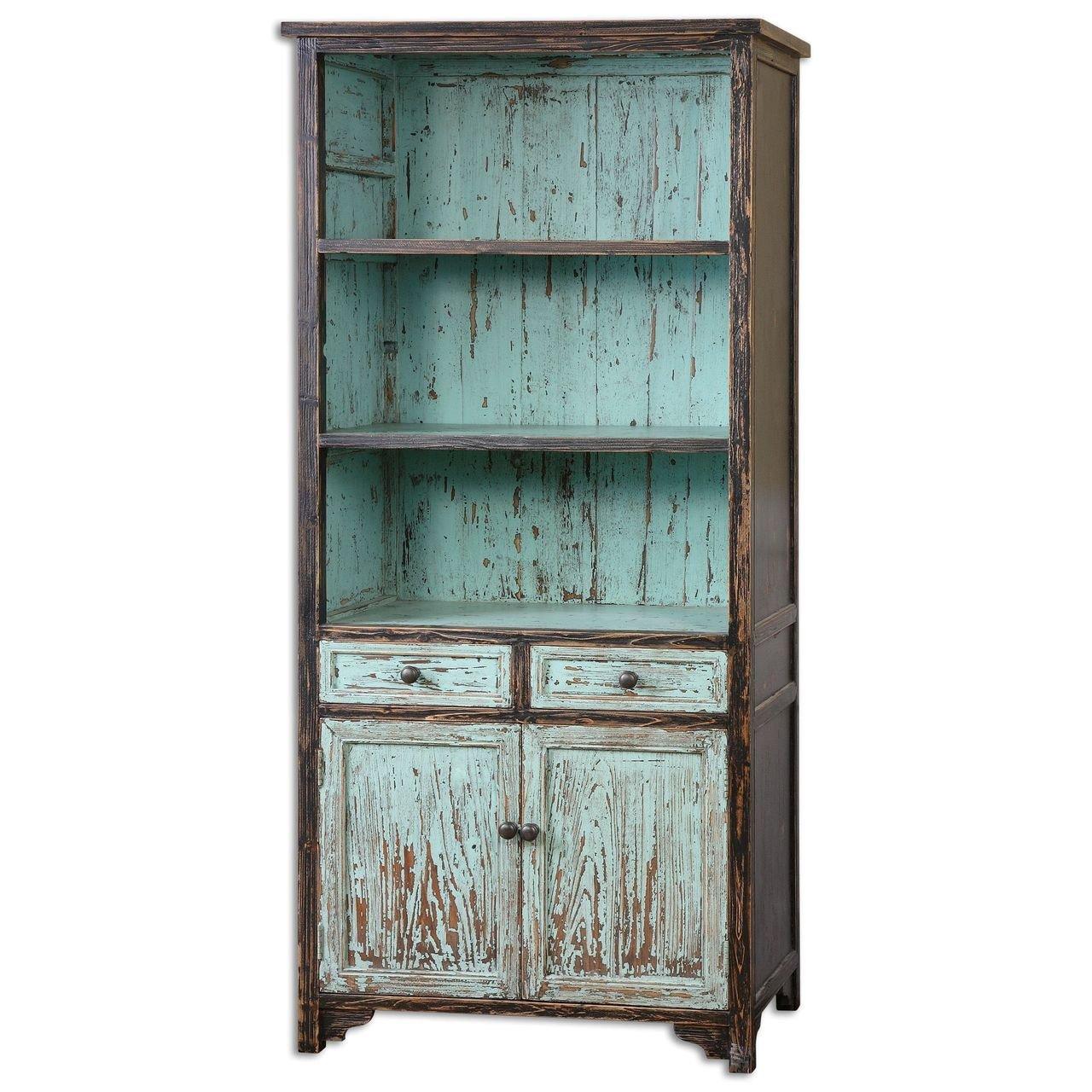 Aqua Turquoise Distressed Bookshelf | Cottage Blue Bookcase Shelf 0