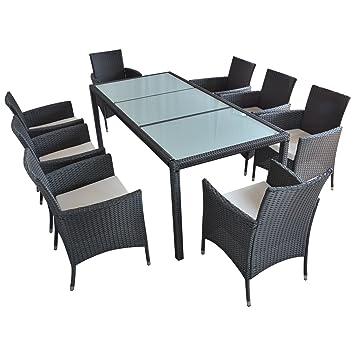 Hansson Sports Essgruppe, 1G208, Gartenmöbel, schwarz, 190 x 90 x 75 cm