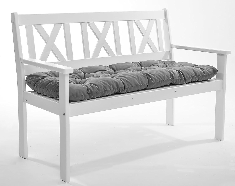 GARDENho.me Massivholz 2er Bank Gartenbank EVJE inkl. Kissen Holzbank Nordisches Design Weiß günstig online kaufen