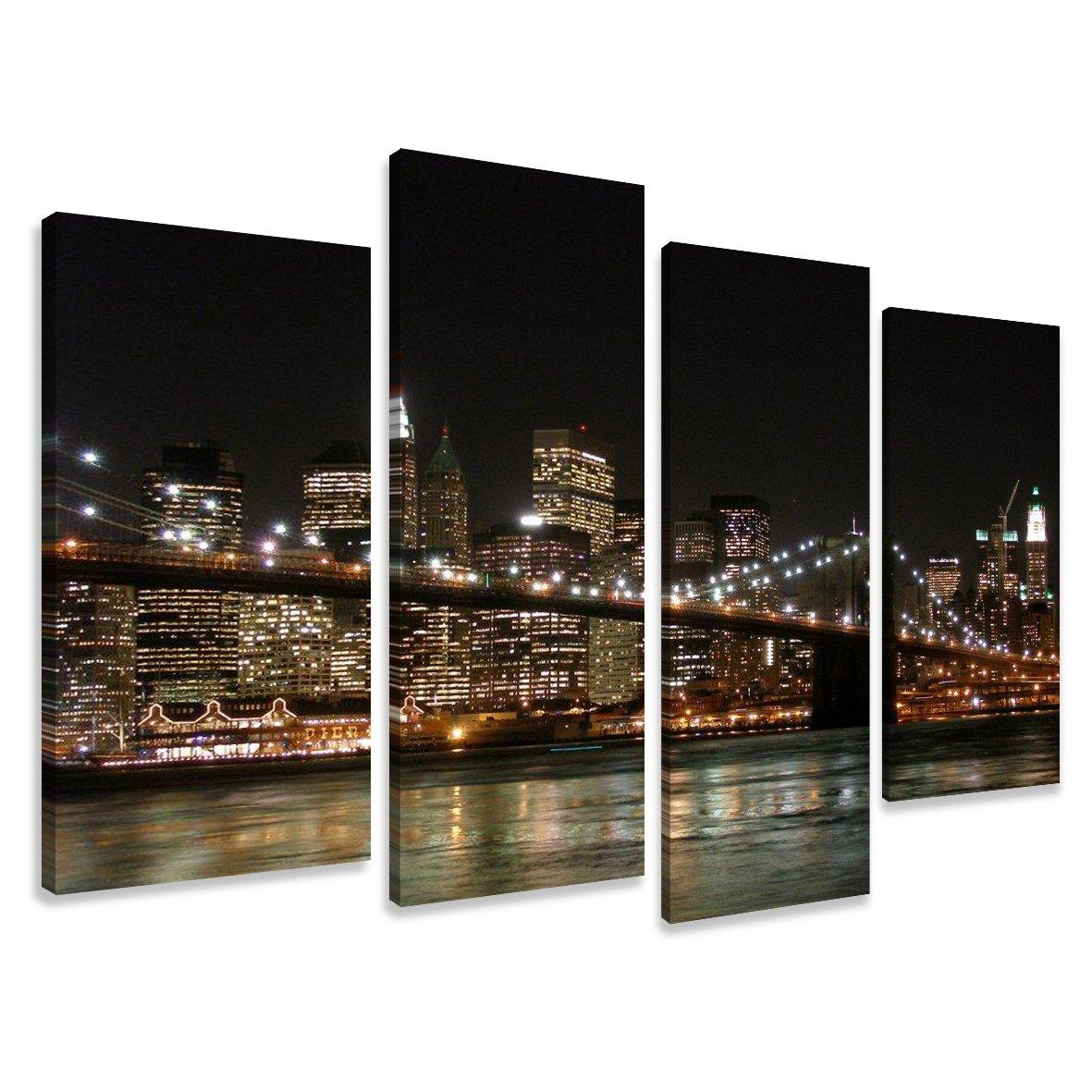 Cuadros en Lienzo Nueva York 130 x 80 cm modelo Nr. 6008 XXL Las imágenes estan listas, enmarcadas en marcos de Madera auténtica. El diseño de la impresión artística como un Mural enmarcado. - Electrónica - Comentarios y más información