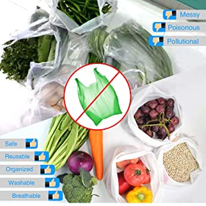 15 Pcs Premium Reusable Mesh Produce Bags, Gogooda 3 Size Lightweight Washable and See Through Mesh Shopping Merchandise Bags with Drawstring, Toggle Tare Weight Color Tag (3 Large 9 Medium &3 Small) (Color: 3 Large 9 Medium &3 Small, Tamaño: X)
