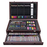 LUCKY CROWN 143 Piece Deluxe Art Set,Artist Sketching Drawing & Painting Set,Art Supplies with Wooden Case,Professional Art Kit for Kids,Teens and Adults