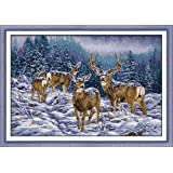 Cross Stitch Stamped Kits Cross-Stitching Accurate Pre-Printed Pattern for Adults- Winter Deer 11CT 27