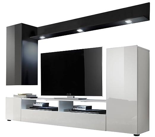 Maisonnerie 1396-945-02 Ensemble Meuble TV Design Dos Blanc/Noir Ultrabrillant LxHxP 208 x 165 x 33 cm