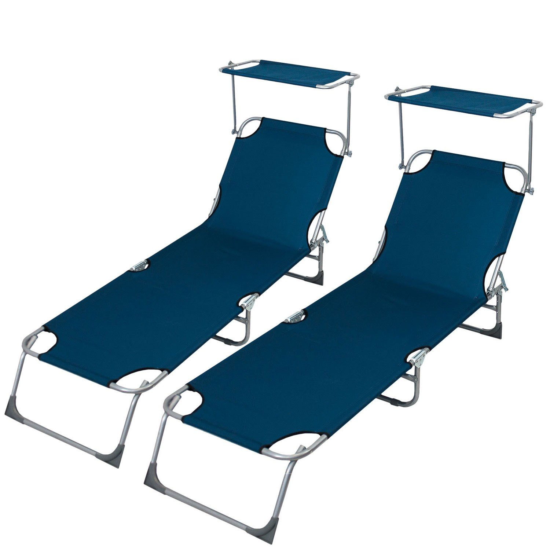 2 Stück Sonnenliege mit stufenlos verstellbarem Sonnenschutz, 190x58cm, 4-fach verstellbare Rückenlehne, klappbar, Blau – Liegestuhl Gartenliege Klappliege Lounger Strandliege Badeliege Campingliege jetzt bestellen