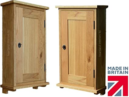 100% Solid Oak Bathroom Cabinet with Locking Panelled Door. No flat packs, No assembly (WBC-OK)