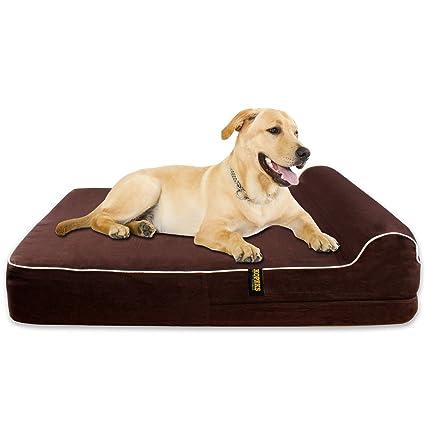 KOPEKS Mascotas Cama Extra Grande para Perros con Memoria Viscoelástica Ortopédico 127 x 85 x 18 cm más la almohada - XL - Marrón