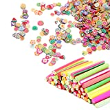100 Pcs 3D Nail Art Fimo Canes Clay Fruit Slices Nails Stickers, More 1000 Pieces Slice Nail Supplies Slime Beads Acrylic Nail Decals Manicure Station Accessories for Nail Design