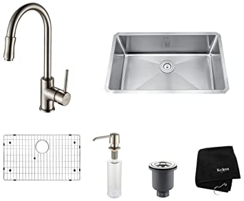 Kraus KHU100-30-KPF1622-KSD30SN 30 inch Undermount Single Bowl Stainless Steel Kitchen Sink with Satin Nickel Kitchen Faucet and Soap Dispenser